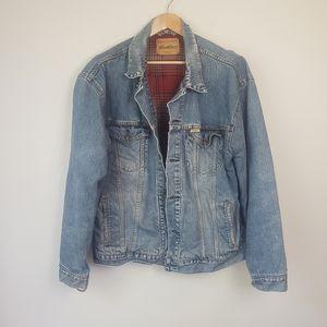 Vintage Levis Plaid Flannel Denim Trucker Jacket